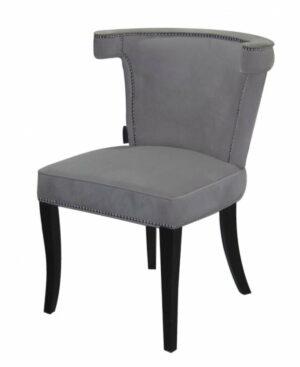 Krzesło nowoczesne tapicerowane ze srebrną pineska szary welur Earls Court 56/51/84 cm
