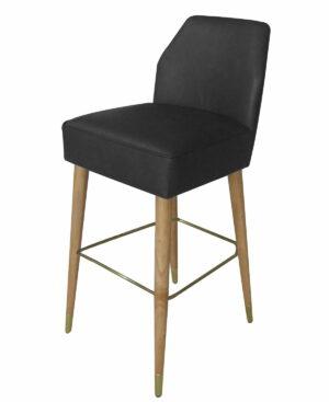 Krzesło barowe nowoczesne tapicerowane czarny welur Asprey 43/53/101 cm