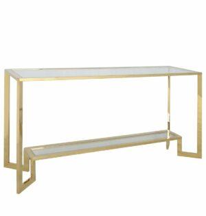 Konsola nowoczesna metalowa złota szklany blat Yara Gold 45/78/160 cm