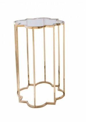 Stoliczek pomocniczy nowoczesny złoty szklany blat Delmar