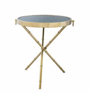Stolik złoty okrągły na trzech nogach z ciemnym szkłem
