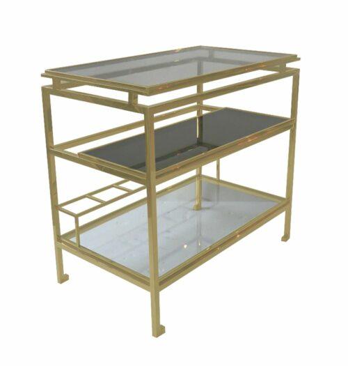 Barek nowoczesny chromowany złoty ze szklanymi półkami Rossella 50/72/85 cm