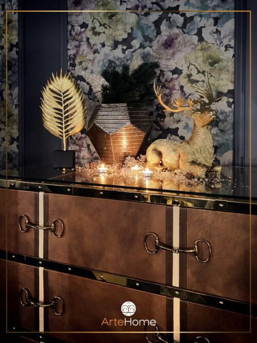 Figurka ozdobna dekoracyjna złoty leżący jeleń