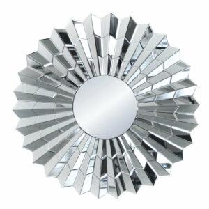 Lustro okrągłe nowoczesne w lustrzanej ramie Violett Srebrne 80 cm