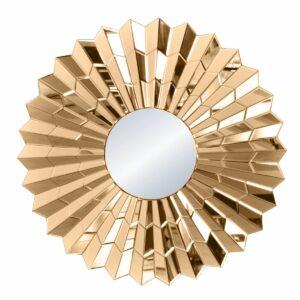 Lustro okrągłe nowoczesne w lustrzanej ramie Violett Ciemne Złoto 80 cm