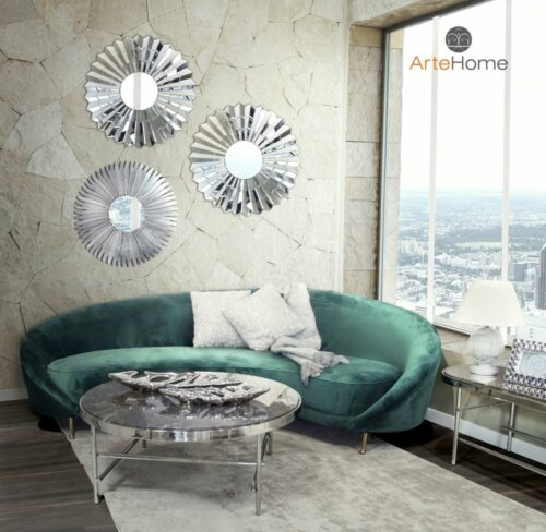 Sofa nowoczesna Glustin Lustro Stelle Violett stolik kawowy cesario aranżacja salonu