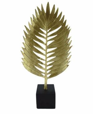Dekoracja złoty liść Golden leaf na czarne podstawce