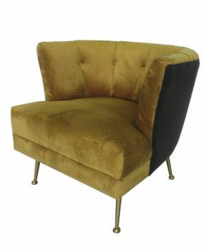 Fotel tapicerowany nowoczesny złote nogi Florence Musztardowy Welur 71/76/81 cm