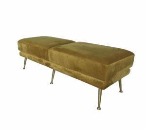 Pufa siedzisko szezlong tapicerowany nogi metalowe Strato Musztardowy Welur 45/50/136 cm