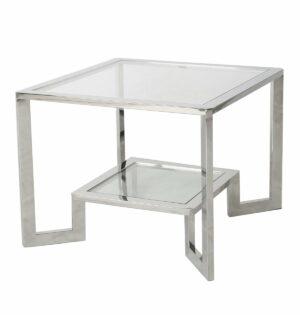 Stoliczek stolik kawowy nowoczesny metalowy Yara Srebrny 50/65/65 cm