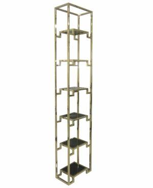 Regał nowoczesny szklane półki chromowany złoty Vanetti 26/45/221 cm