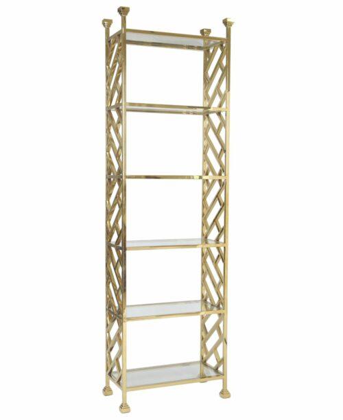 Regał nowoczesny metalowy złoty Perry 32/65/230 cm