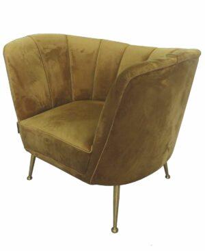 Fotel tapicerowany nowoczesny welurowy Aveiro Musztardowy 77/80/101 cm