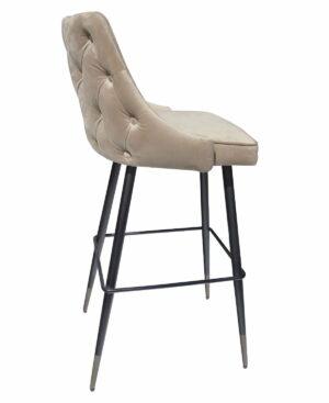 Krzesło barowe nowoczesne pikowane złoty welur 52/53/103 cm