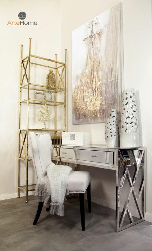 Konsola Taranto srebrna krzesło szare Vittdria Regał na książki Park Avenue Obraz Sofi aranżacja pokoju