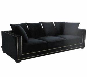 Sofa nowoczesna tapicerowana czarny welur złote pineski Delladue 85/106/250 cm