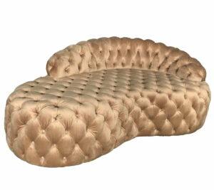 Szezlong sofa nowoczesna pikowana złoty welur Busiamante 65/94/162 cm