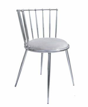 Krzesło nowoczesne tapicerowane metalowy stelaż w stylu Glamour Celano srebrny/szary 52/55/73 cm
