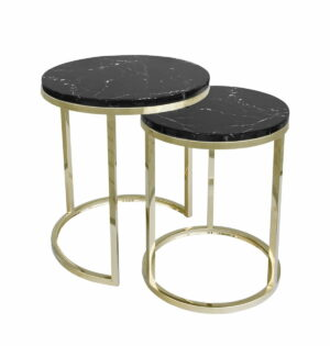 Stolik kawowy nowoczesny zestaw dwa stoliki Camelio złoty/czarny 40/50 50/55 cm