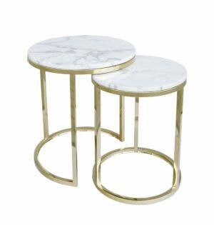 Stolik kawowy nowoczesny zestaw dwa stoliki Camelio złoty/biały 40/50 50/55 cm