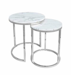 Stolik kawowy nowoczesny zestaw dwa stoliki Camelio srebrny/biały 40/50 50/55 cm