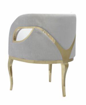 Fotel nowoczesny tapicerowany metalowe złote nogi Morello złoty/szary 55/59/78 cm