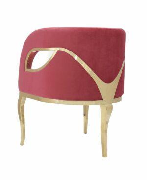 Fotel nowoczesny tapicerowany metalowe złote nogi Morello złoty/czerwony 55/59/78 cm