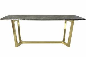 Stół nowoczesny do jadalni blat marmurowy nogi chromowane Roseta Złoty/brązowy 75/100/200 cm