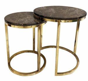 Stolik kawowy nowoczesny zestaw dwa stoliki Camelio złoty/brązowy 40/50 50/55 cm