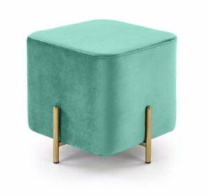 Pufa nowoczesna tapicerowana kostka metalowe nogi Cube złoty/zielony 42/46/46 cm
