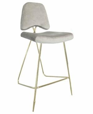 Krzesło barowe nowoczesne tapicerowane Salvadore złote/brązowe 47/59/124 cm