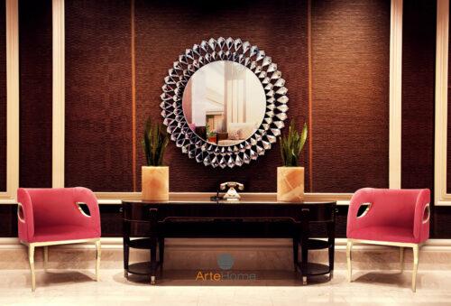 Fotel Morello czerwony Lustro Marsylia aranżacja salonu