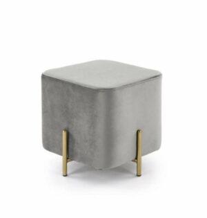 Pufa nowoczesna tapicerowana kostka metalowe nogi Cube złoty/szary 42/46/46 cm