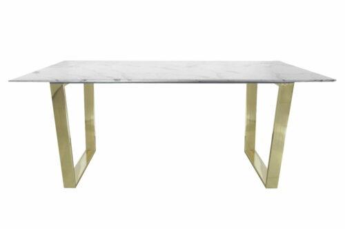 Stół nowoczesny marmurowy do jadalni nogi metalowe Madera złoty/biały