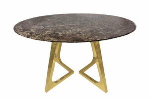 Stół okrągły nowoczesny blat marmur nogi stal chromowana Veneto Złoto/Brązowy 76/130/130 cm