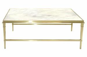 Stolik kawowy nowoczesny marmurowy rama metal Livo Złoty/Biały 50/70/130 cm