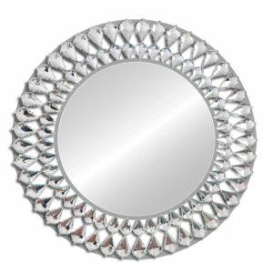 Lustro nowoczesne okrągłe dekoracyjne Marsylia antyczne srebro 80 cm