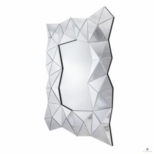 Lustro prostokątne w szklanej ramie Amber Srebrne 80/120 cm