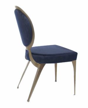 Krzesło nowoczesne tapicerowane w stylu Glamour Cassari Niebieskie 45/55/89 cm
