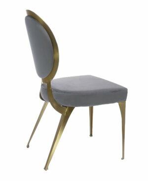 Krzesło nowoczesne tapicerowane w stylu Glamour Cassari Szary 45/55/89 cm