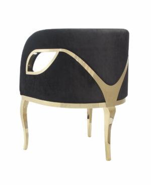 Fotel nowoczesny tapicerowany metalowe złote nogi Morello złoty/czarny 55/59/78 cm