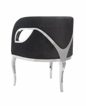 Fotel nowoczesny tapicerowany metalowe srebrne nogi Morello srebrny/czarny 55/59/78 cm