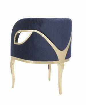 Fotel nowoczesny tapicerowany metalowe złote nogi Morello złoty/niebieski 55/59/78 cm