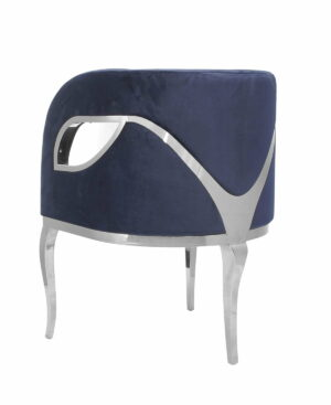 Fotel nowoczesny tapicerowany metalowe srebrne nogi Morello srebrny/ciemny niebieski 55/59/78 cm