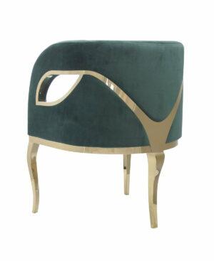 Fotel nowoczesny tapicerowany metalowe złote nogi Morello złoty/zielony 55/59/78 cm