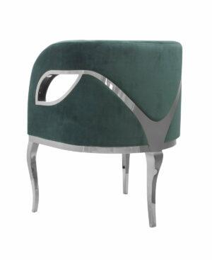 Fotel nowoczesny tapicerowany metalowe srebrne nogi Morello srebrny/ciemny zielony 55/59/78 cm