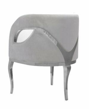 Fotel nowoczesny tapicerowany metalowe srebrne nogi Morello srebrny/jasny szary 55/59/78 cm