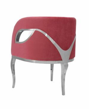 Fotel nowoczesny tapicerowany metalowe srebrne nogi Morello srebrny/czerwony 55/59/78 cm