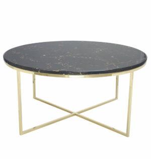 Stolik kawowy okrągły nowoczesny stal nierdzewna blat marmur Pelio Złoty/Brązowy 42/90/90 cm