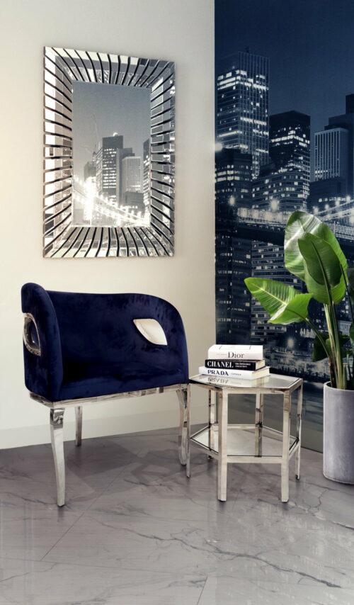Nowoczesny tapicerowany welurem fotel na trzech srebrnych nogach oraz stolik kawowy hexagon